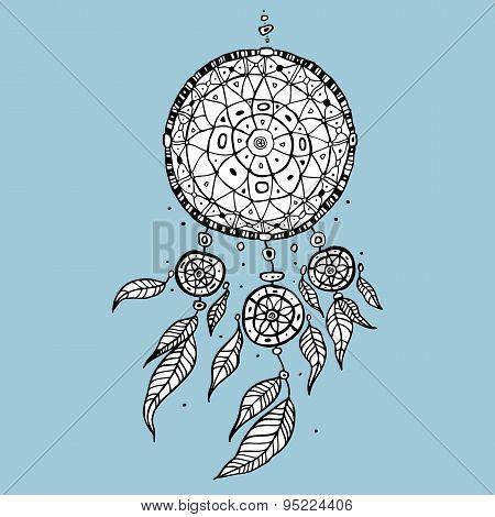 Dream Catcher. Decorative Vector illustration.