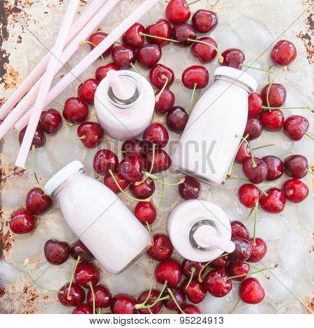 Creamy Milk Shake With Cherries