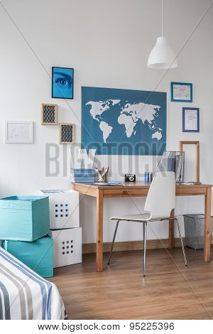 Stylish Workspace In Teen Room