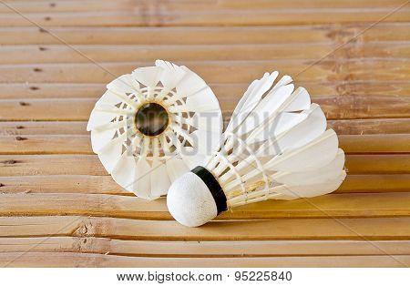 Badminton on the wooden floor