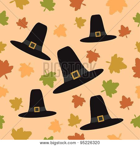 Thanksgiving seamless background with Pilgrim hat