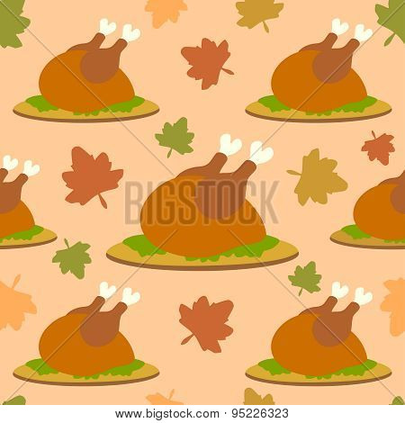 Thanksgiving seamless background with cooked turkey