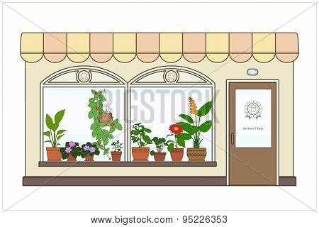 Shop Houseplants. Vector.