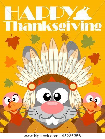 Happy Thanksgiving day background,with rabbit Indian
