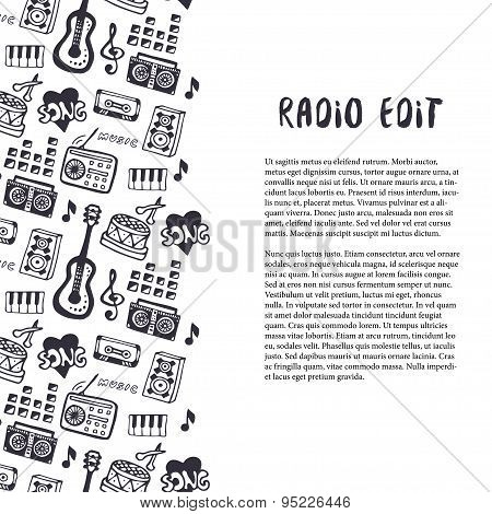 Music seamless border with musical instruments and hand drown sound stuff. Template for flyer, banne