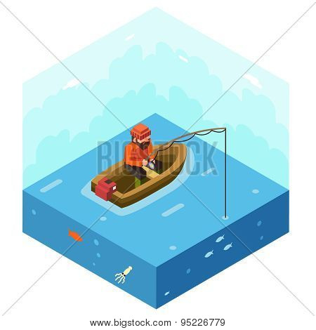 Fisherman with Fishing Rod Polygonal Character in Boat River Lake Sea Ocean Sky Fish Background Conc