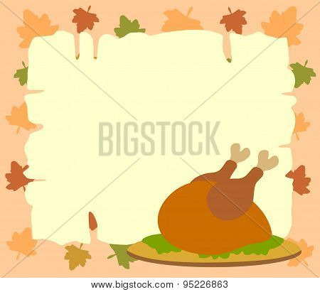 Thanksgiving  background with cooked turkey
