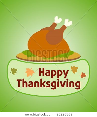 Thanksgiving day background with cooked turkey