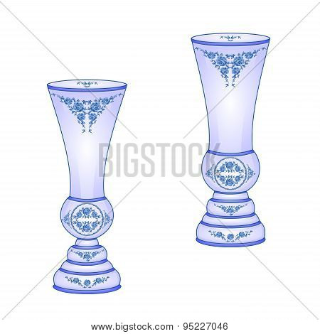 Two  Vases Blue Faience Vector