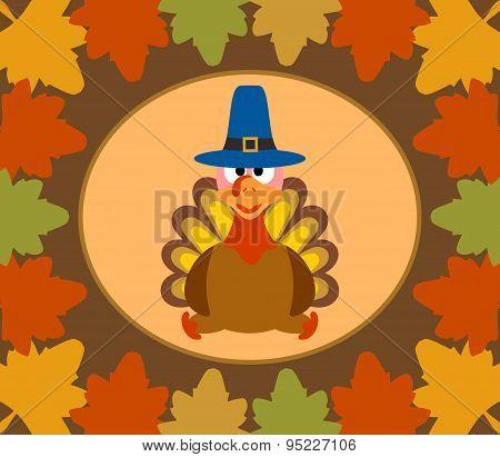 Autumn Thanksgiving  Day background with turkey