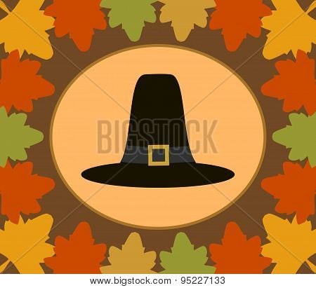 Autumn Thanksgiving  Day background with Pilgrim hat