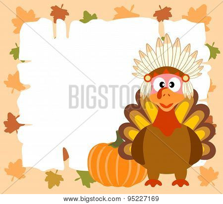 Thanskgiving  background with turkey indian and pumpkin