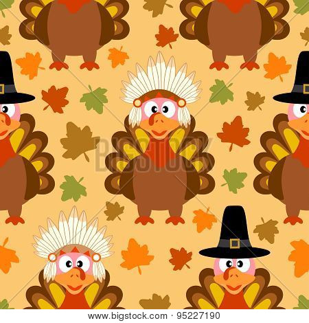 Thanksgiving seamless background with funny turkey