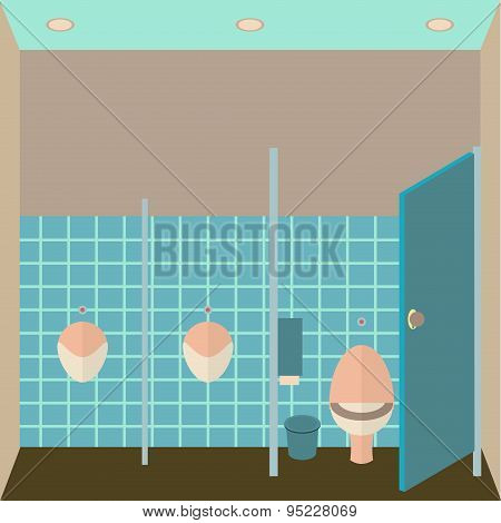 Toilet interior vector illustration. Public lavatory in flat design style. Men restroom design templ