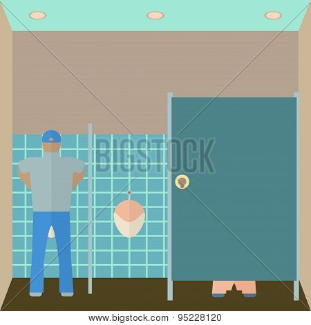 Toilet interior vector illustration. Lavatory in flat style. Men restroom design template. WC inside