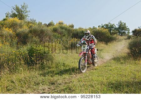 Biker Riding Enduro Motorcycle Beta Rr 400
