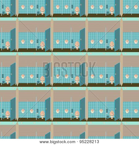 Toilet interior vector illustration seamless pattern. Lavatory in flat style  background. Men restro