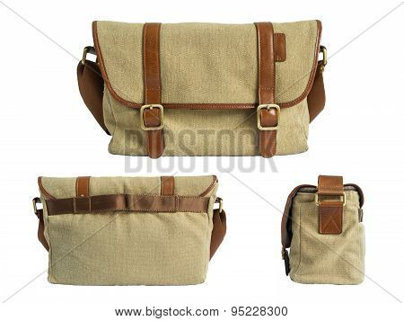 Brown camera-bag isolated on the white background. Clipping path.