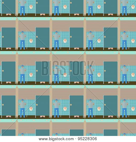 Toilet interior vector illustration seamless pattern. Lavatory in flat style endless background. Men