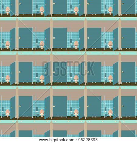 Toilet interior vector illustration seamless pattern. Lavatory in flat style endless background. Wom