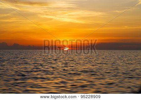 Sunrise Boat  And Kho Tao Bay Coastline South China Sea