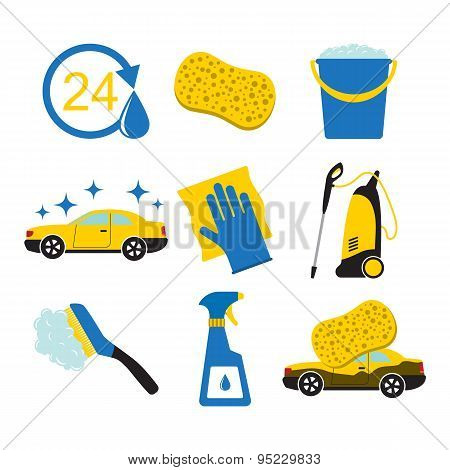 Car wash tools icons.