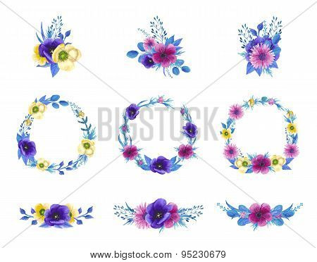 Watercolor blossom floral set