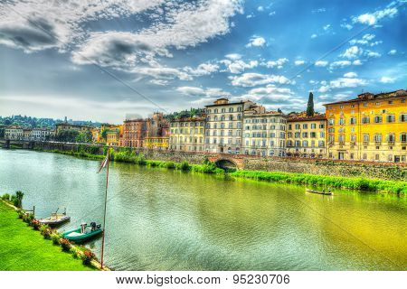 Cloudy Sky Over Arno River In Florence