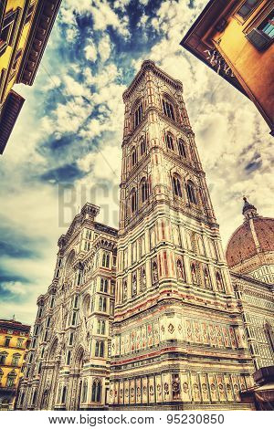Santa Maria Del Fiore Cathedral In Florence Under A Dramatic Sky