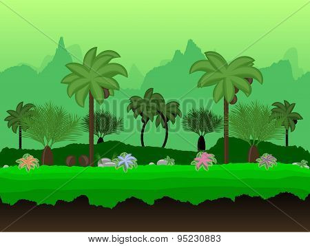 Vector Seamless Cartoon Nature Landscape, Unending Tropical Background With Palm Trees, Coconuts, Ex