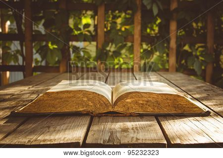 old books on a wooden floor terrace