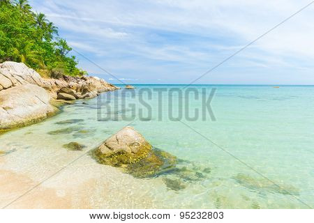 Tropical Beach And Turquoise Water In Thailand