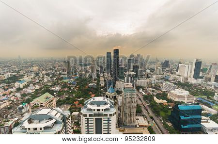 Smog And Haze Over Bangkok, Cityscape From Above