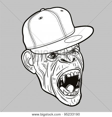 Angry ape with baseball cap - editable vector graphic