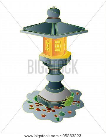 Japanese garden stone lantern.