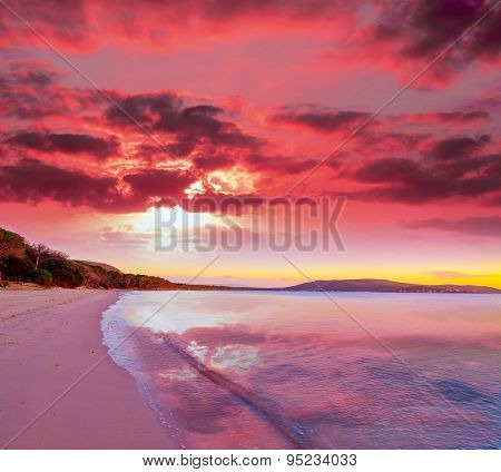 Pink Sunset In Mugoni Beach