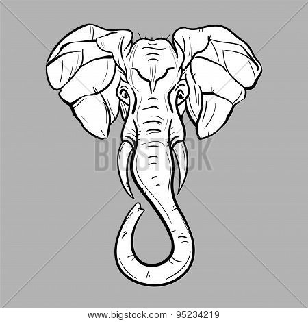 Elephant head - editable vector graphic