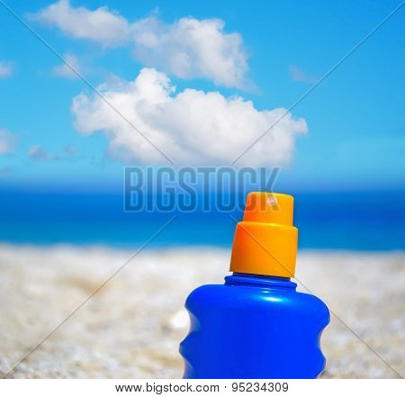 Suntan Bottle In The Summertime