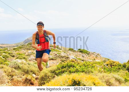 Happy Trail Running Man In Beautiful Mountains