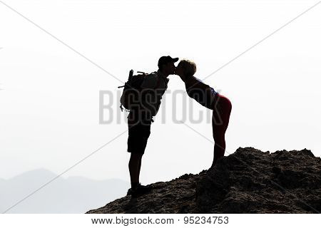Happy Love Couple Kissing On Mountain Summit