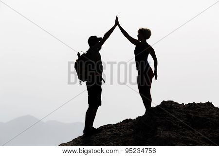 Happy Couple Celebrate Reaching Life Goal And Success Concept