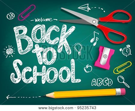 Welcome Back to School Title Written in a Chalk Board