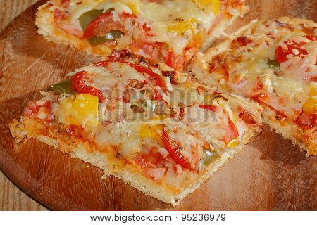 Pizza With Peppers, Tomatoes, Ham, Onion, Cheese