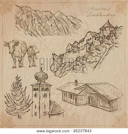 Travel, Liechtenstein - An Hand Drawn Vector Pack
