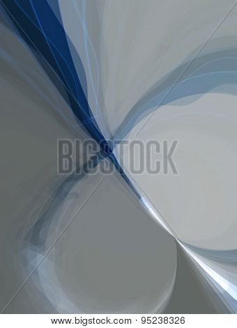 3D illustration of abstract colored with shapes in blue and gray