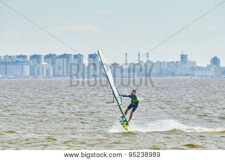 Russia, St. Petersburg, 07.04.2015: Prorider Yegor Popretinsky, Rus11, Russian Champion In Windsurfi