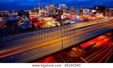 Spokane, Washington And Freeway At Night