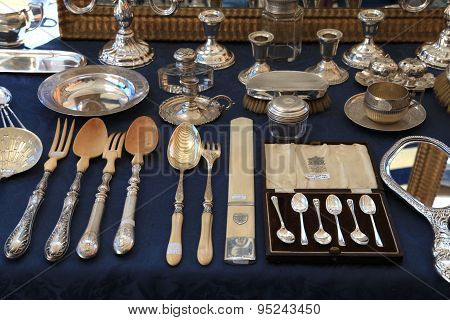 Antique Silverware On Antique Market The Cours Saleya, Nice, France