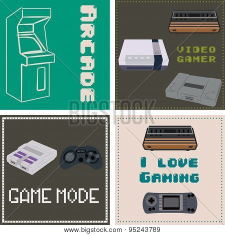 Set of retro videogames