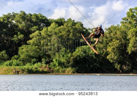 Man Wakeboarding. Jumping